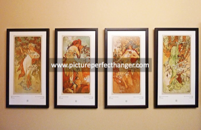 How to hang four picture frames level